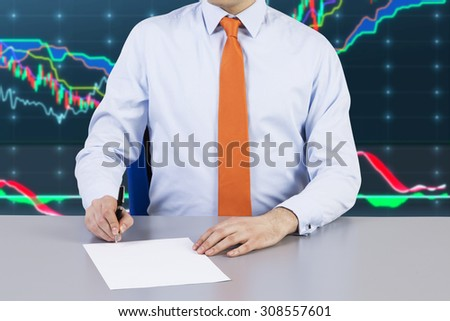 Businessman and contract signing process. Forex chart on the background and night business city. - stock photo