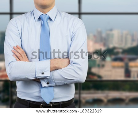 Businessman and crossed hands, city view. - stock photo