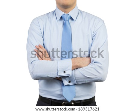 Businessman and crossed hands, isolated. - stock photo