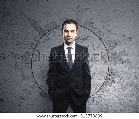 businessman and drawing travel concept on wall - stock photo