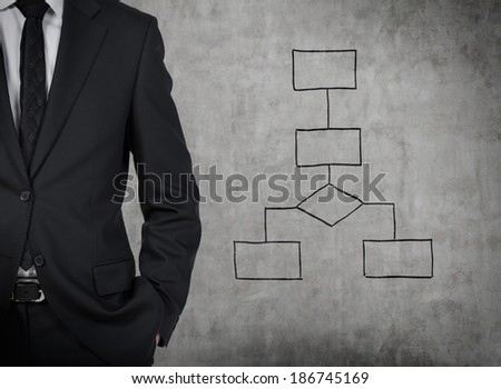 Businessman and flowchart. Grey wall. - stock photo