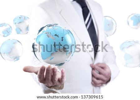 businessman and globe world map.