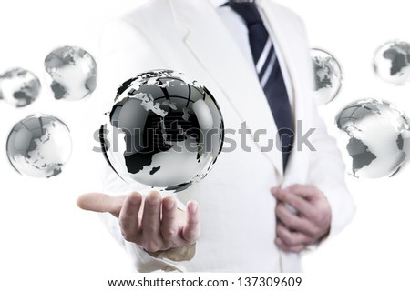 businessman and globe world map. International global company concept. - stock photo