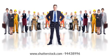 Businessman and group of industrial workers. Isolated over white background. - stock photo