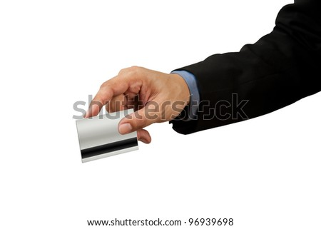 businessman and hand with credit card swipe on white background - stock photo
