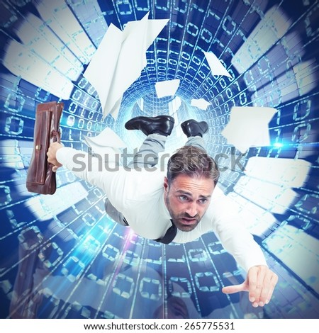 Businessman and his addiction on internet speed - stock photo