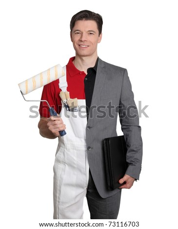 Businessman and home painter on white background - stock photo