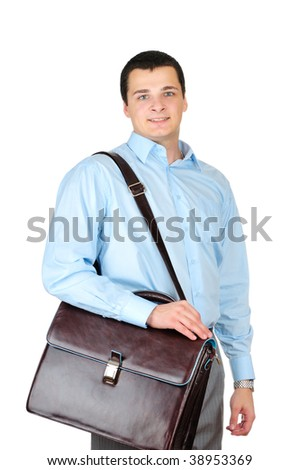 Businessman and leather briefcase isolated on white background - stock photo