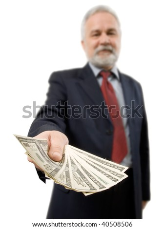 Businessman and money. - stock photo
