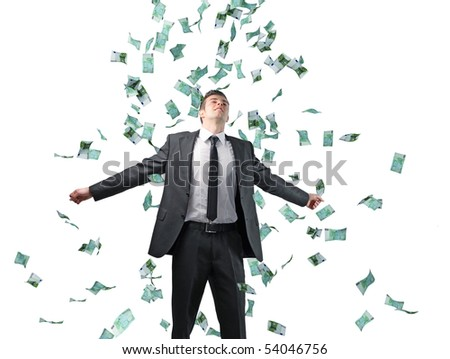 businessman and money rain isolated on white background