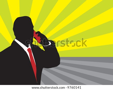 Businessman and phone (bakground, wallpaper, web, flayer...)