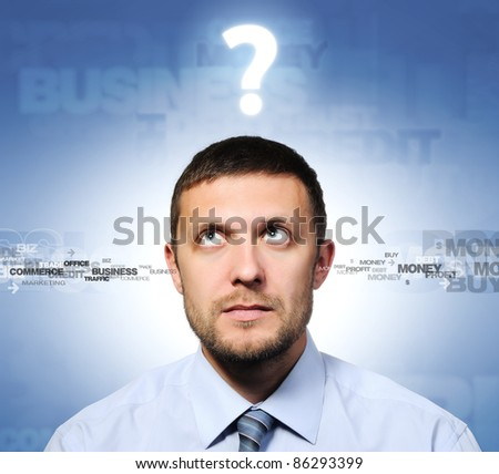 Businessman and question, concept - stock photo