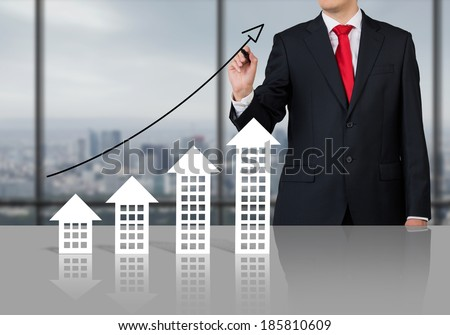 Businessman and real estate market. Meeting room. - stock photo