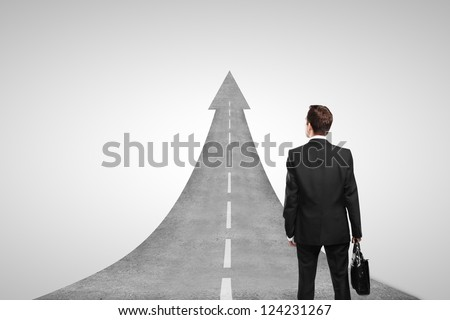 businessman and road concept  on white background