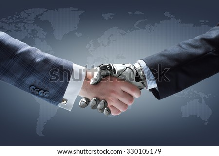 Businessman and robot's handshake with holographic Dotted world map on dark background. Artificial intelligence technology - stock photo