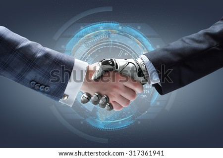 Businessman and robot's handshake with holographic Earth globe on background. Artificial intelligence technology - stock photo