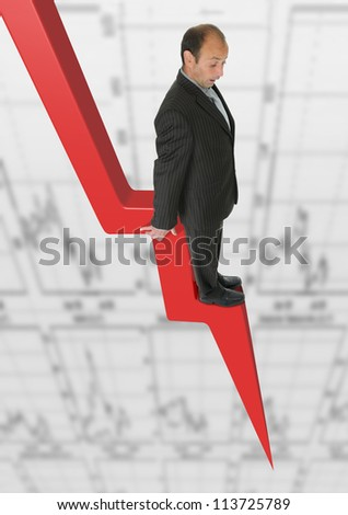 Businessman and scary statistics - stock photo