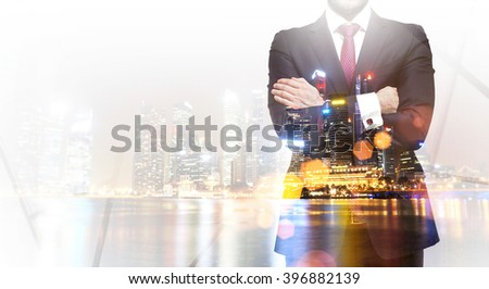 Businessman and Singapore view. Double exposure. Concept of career. - stock photo