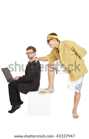 Businessman and student. One rests, the other works. - stock photo