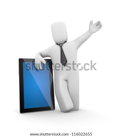 Businessman and Tablet computer - stock photo