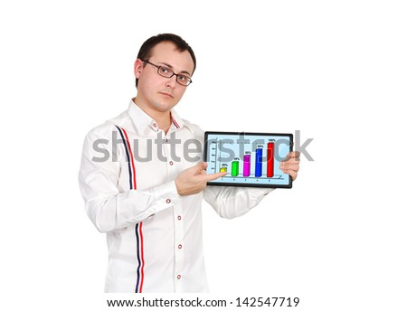 businessman and tablet with business chart - stock photo