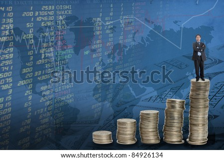 businessman and the stock trades. - stock photo