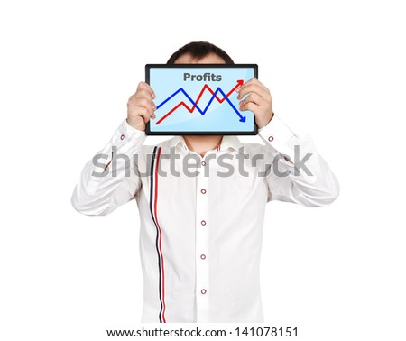 businessman and  touch pad with business chart - stock photo