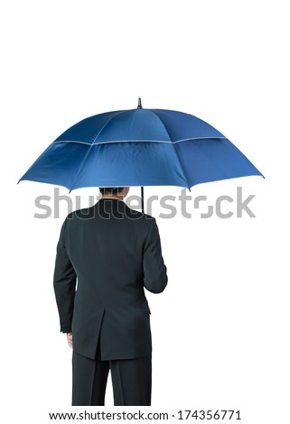 Businessman and umbrella on white background - stock photo