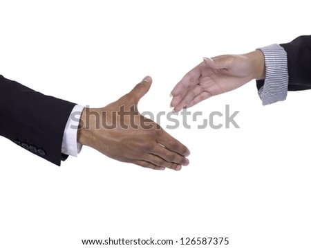 Businessman and woman about to make a handshake for their partnership