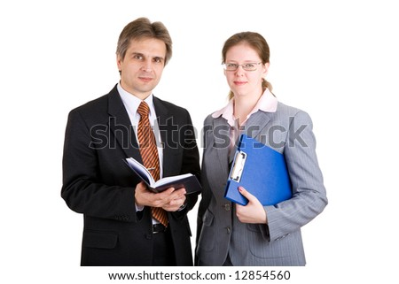 businessman and woman and with carpet and  book - stock photo