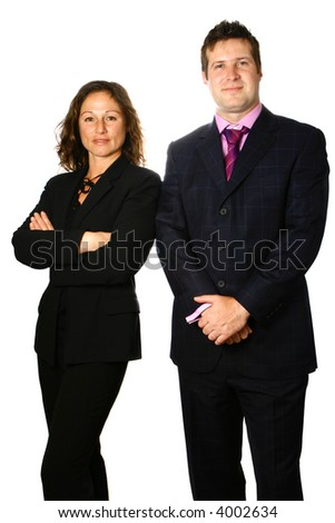 Businessman and woman colleague standing next to each other, isolated on white. - stock photo