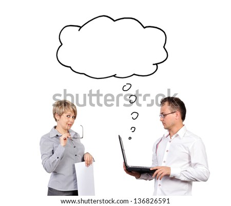 businessman and woman dreaming with laptop on white background