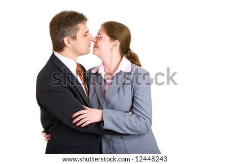 businessman and woman kissing - stock photo