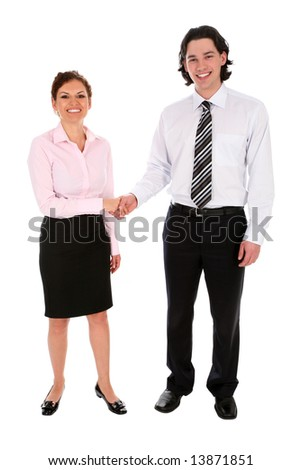 Businessman and woman shaking hands - stock photo