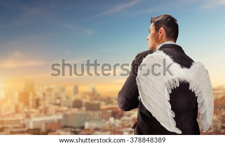 Businessman-angel - stock photo