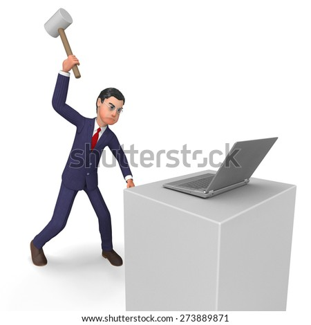 Businessman Angry Meaning Internet Anger And Cross - stock photo