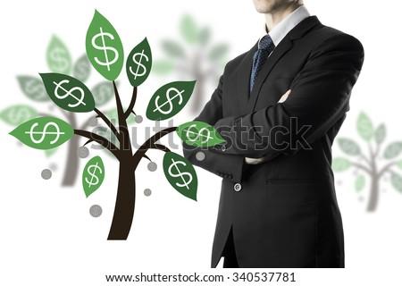 Businessman Arm Cross Pose.money tree - stock photo