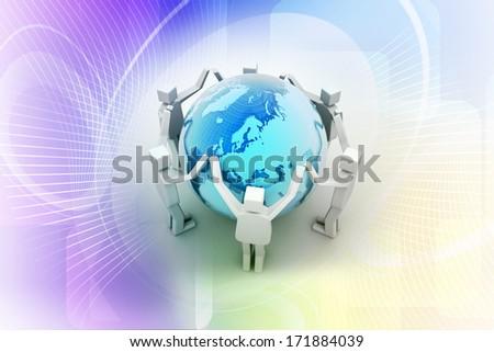 Businessman around the world, Teamwork concept - stock photo
