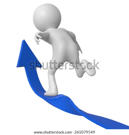 businessman arrow up back view - stock photo