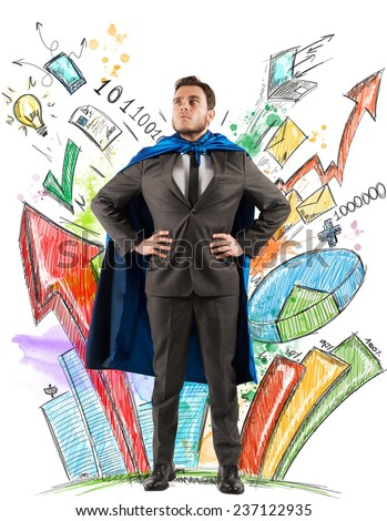 Businessman as hero of statistics and diagrams - stock photo