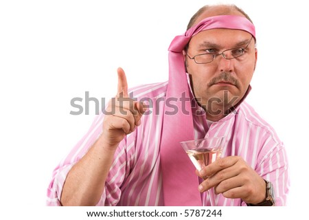 Businessman at a party looking obviously very drunk - stock photo