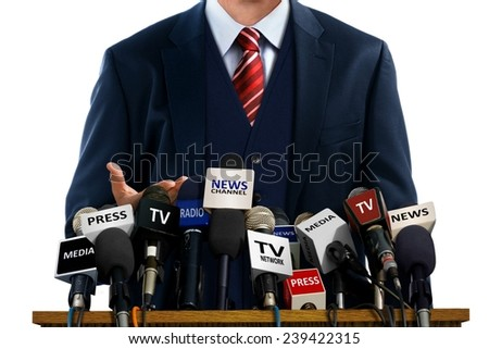 Businessman at Press Conference - stock photo