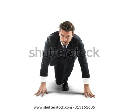 Businessman at the beginning of new challenge - stock photo