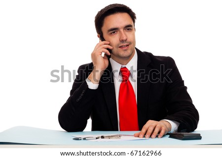 Businessman at the desk working