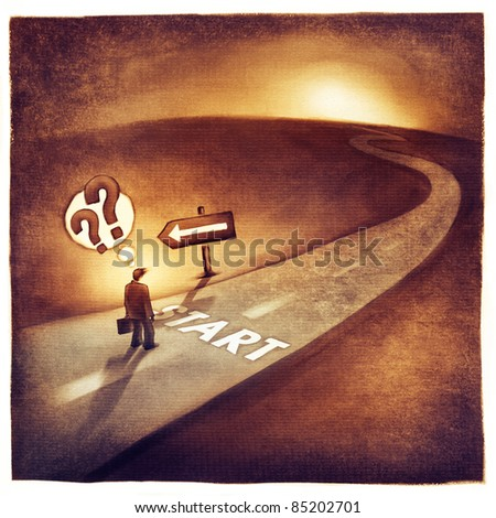 businessman at the start of his journey making decision which way to go (loose artistic painting) - stock photo