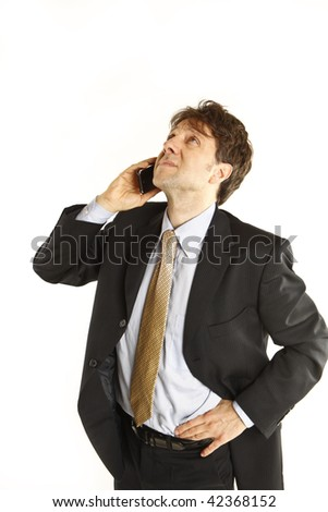 businessman at the telephone - stock photo