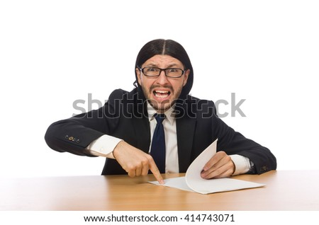 Businessman at workplace isolated on white - stock photo