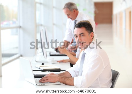Businessman attending training course - stock photo