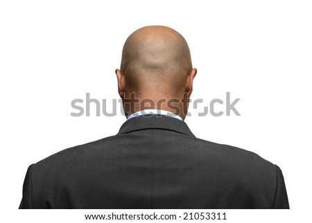Businessman back isolated against a white background