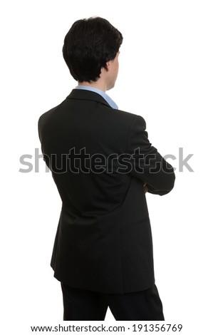 businessman back isolated on white background - stock photo